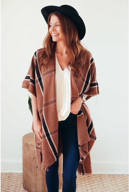 More Than Warmth Camel Window Pane Kimono