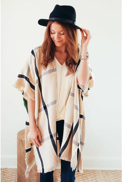 More Than Warmth Ivory Window Pane Kimono