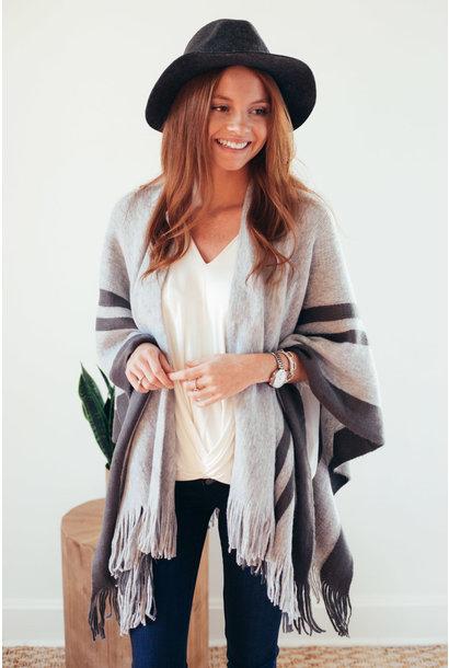 Warm Up Ready Grey Tassel Stripe Poncho Wrap
