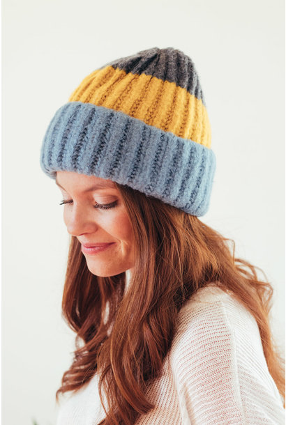 Just Toasty Blue Color Block Beanie
