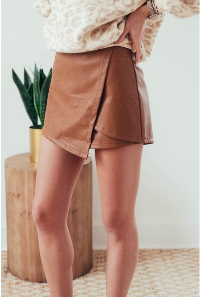 Molly Camel Faux Leather Wrap Shorts
