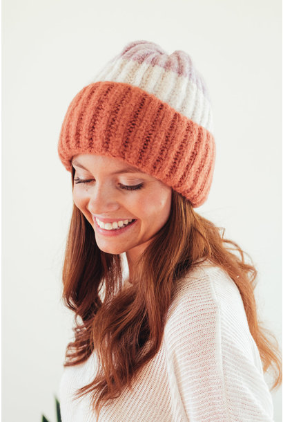 Just Toasty Rose Color Block Beanie