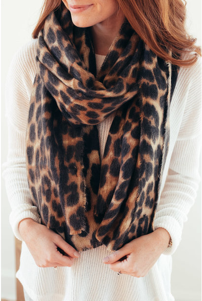 All The Wild Leopard Print Oversized Scarf