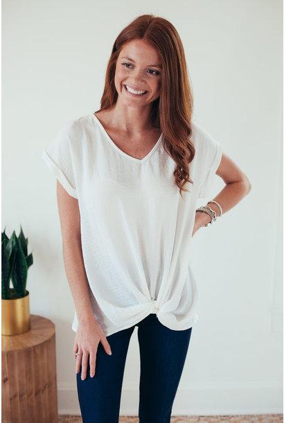 Whitney White Front Twist Short Sleeve Blouse