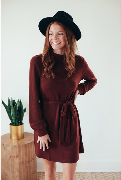 Becca Burgundy Long Sleeve Mockneck Hacci Dress