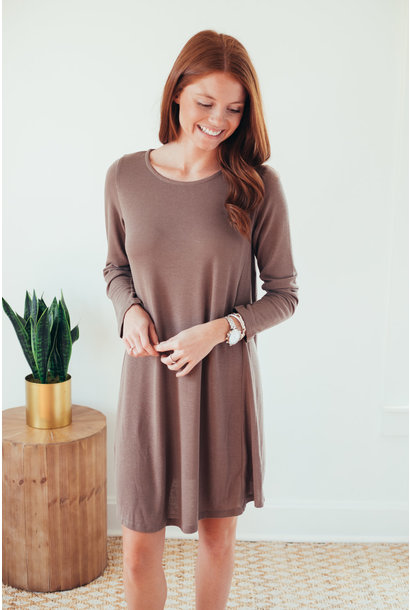 Shae Mocha Long Sleeve Hacci Knit Dress