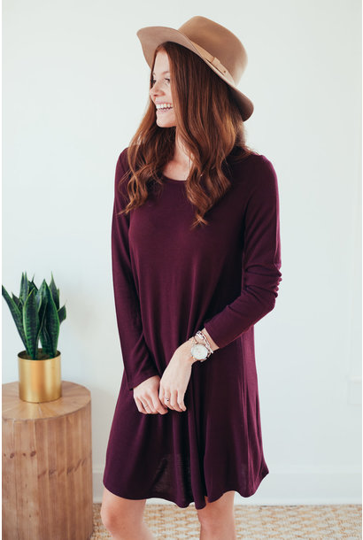 Shae Plum Long Sleeve Hacci Knit Dress
