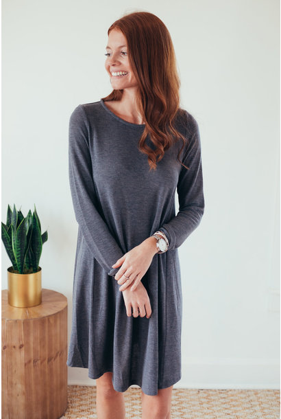 Shae Grey Long Sleeve Hacci Knit Dress