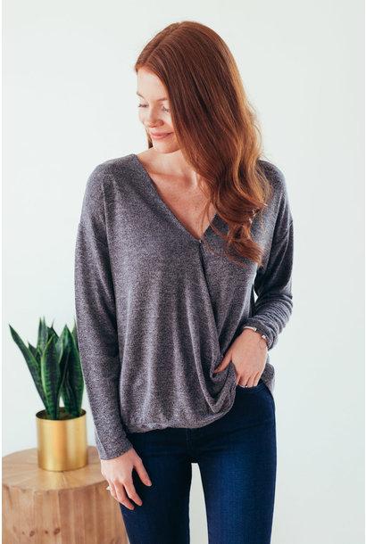 Cailynn Grey Long Sleeve Surplice Knit Top