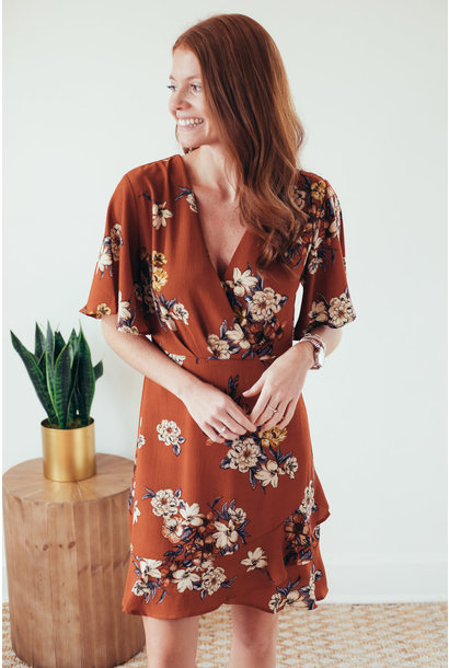 Bayle Rust Floral Flutter Sleeve Dress
