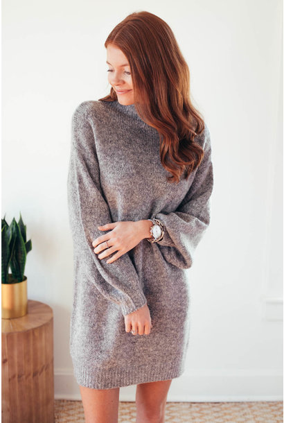 Charlotte Grey Mockneck Balloon Sleeve Dress