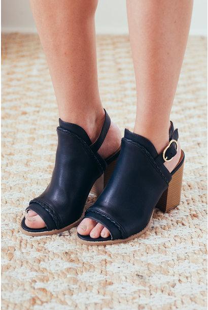 Caverley Black Peep Toe Mule Slingback Booties