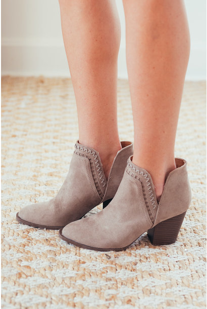 All I Ever Wanted Taupe Stitch Booties