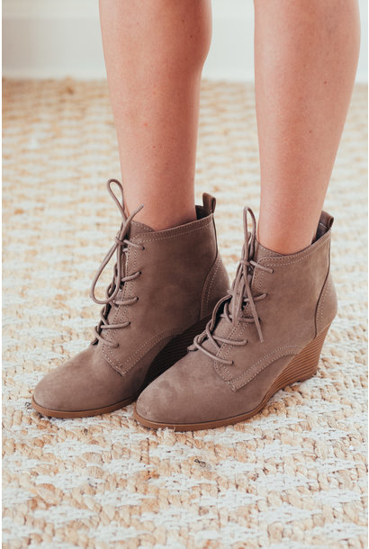 Keep Up Taupe Lace Up Wedge Booties