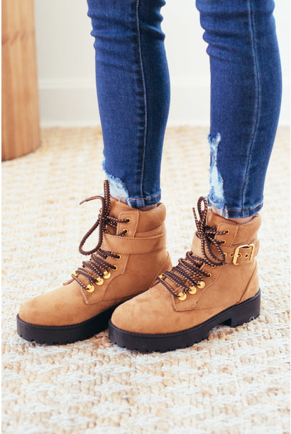 Double Time Camel Lace Up Ankle Strap Boots