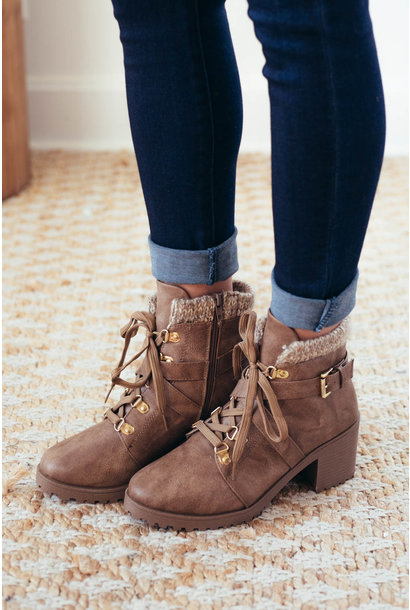 Change Of Temps Taupe Lace Up Hiking Boot
