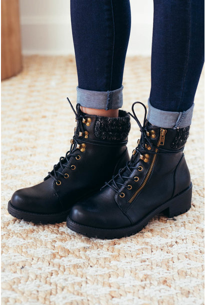 At Attention Black Combat Knit Booties