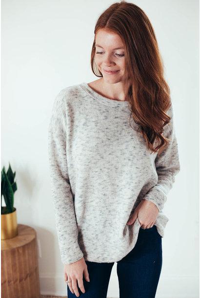Leann Grey Button Back Marled Knit Top