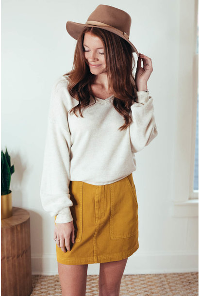Early Mornings Oatmeal Cropped Knit Top