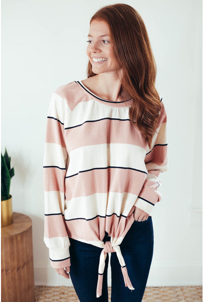 Shayna Blush Stripe Front Tie Knit Top