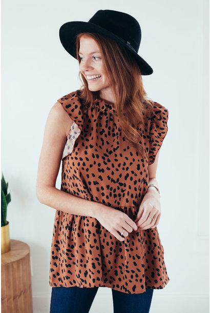 Aida Brown Cheetah Print Mock Neck Tank
