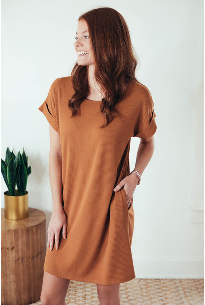 Alani Camel Ribbed Cuff Sleeve Dress