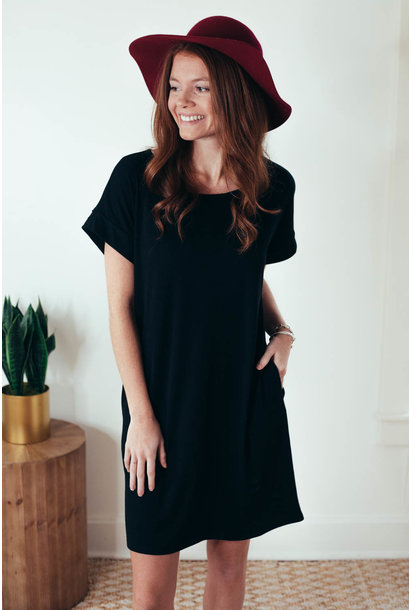 Alani Black Ribbed Cuff Sleeve Dress