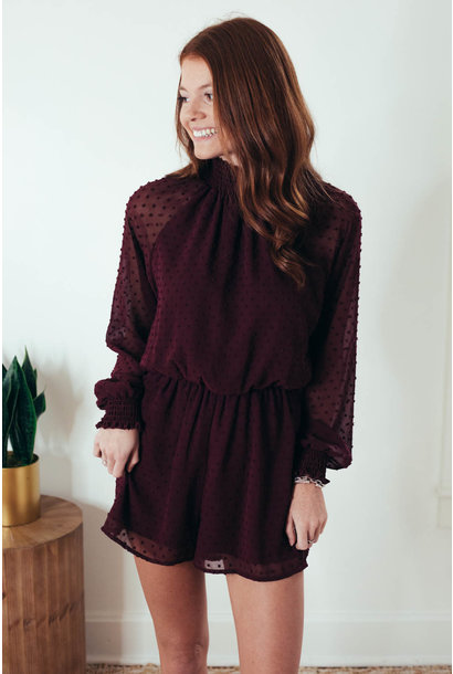 Hold Your Breath Burgundy Lace Romper