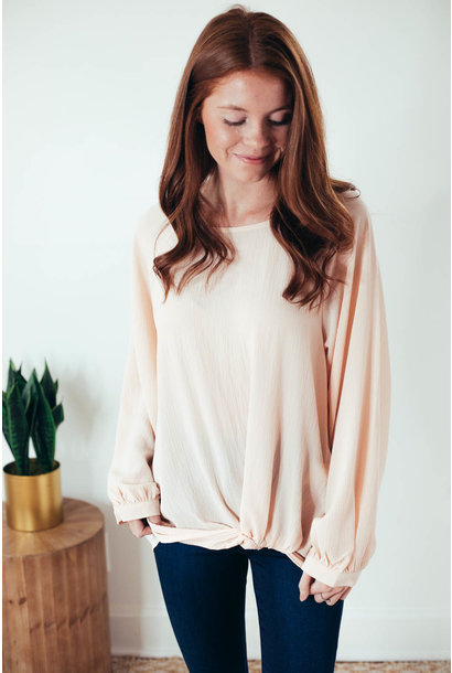 Sunday Brunch Champagne Front Twist Blouse Top