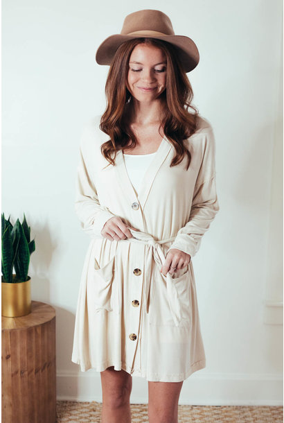 Jacey Cream Ribbed Button Front Cardi Dress