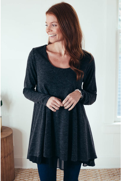 Ebony Black Scoop Neck Layered Tunic Dress