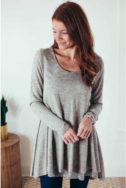 Ebony Grey Scoop Neck Layered Tunic Dress
