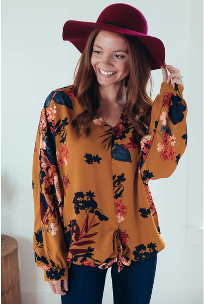 Dayna Mustard Floral Puff Sleeve Front Tie Top