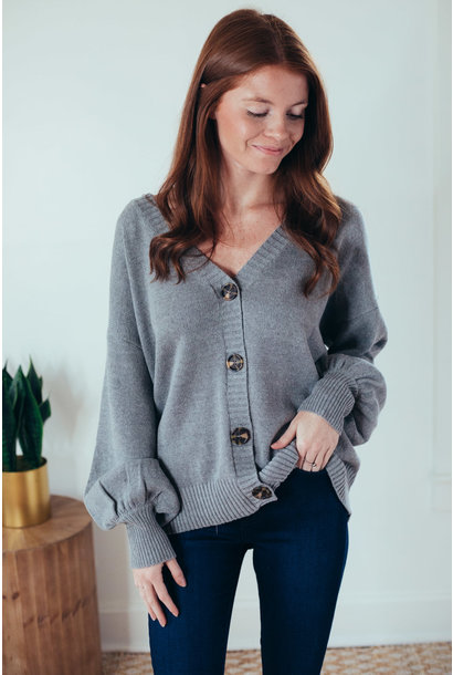 Kai Grey Puff Sleeve Button Front Cardi Sweater