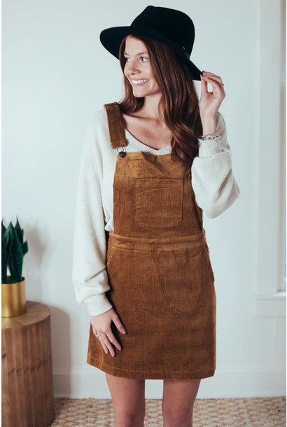 Laken Walnut Corduroy Overall Dress