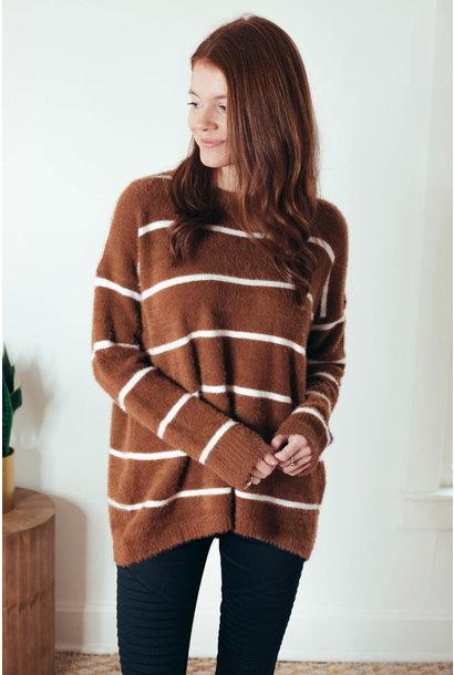Arabella Copper Stripe Fuzzy Crew Neck Sweater