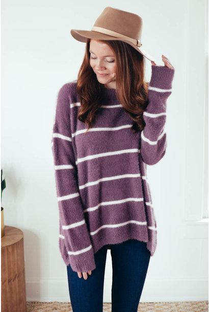 Arabella Lavender Stripe Fuzzy Crew Neck Sweater