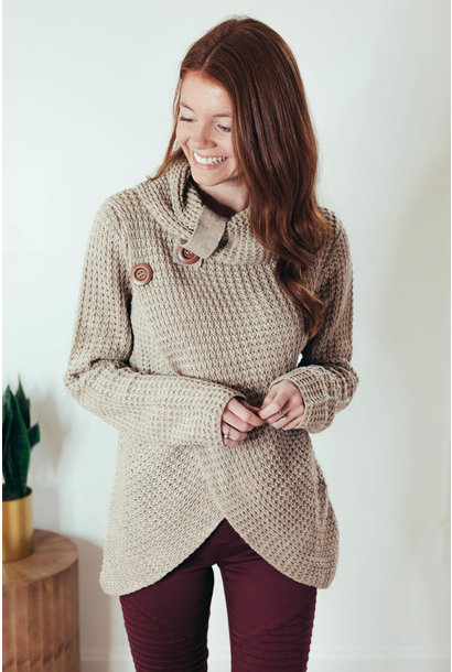 Changing Seasons Mocha Crossover Button Knit Top