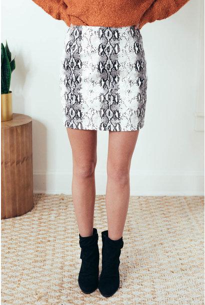 Aryanna Off White Snake Skin Twill Mini Skirt