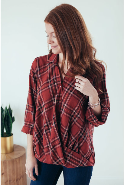 Ayva Red Plaid Twist Front Button Up Shirt