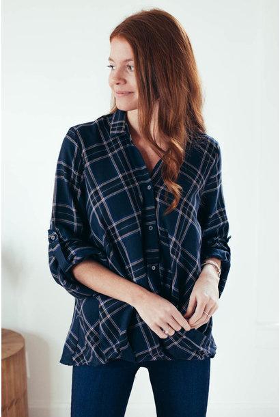Ayva Navy Plaid Twist Front Button Up Shirt