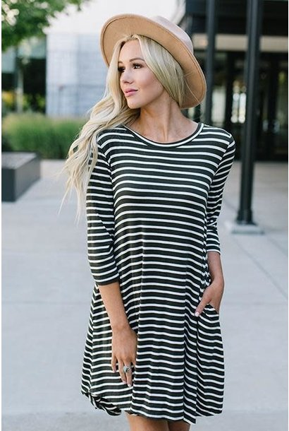 Macy Olive Striped Side Pocket T-Shirt Dress