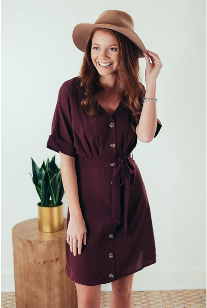 Lana Chestnut Button Down Tie Waist Dress