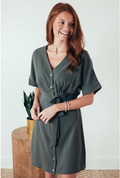 Lana Olive Button Down Tie Waist Dress