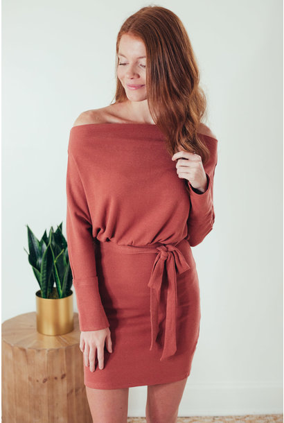 Alessa Cinnamon Batwing Off Shoulder Knit Dress