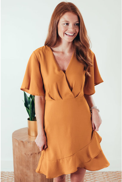 Rhea Caramel Half Sleeve Surplice Flounce Hem Dress