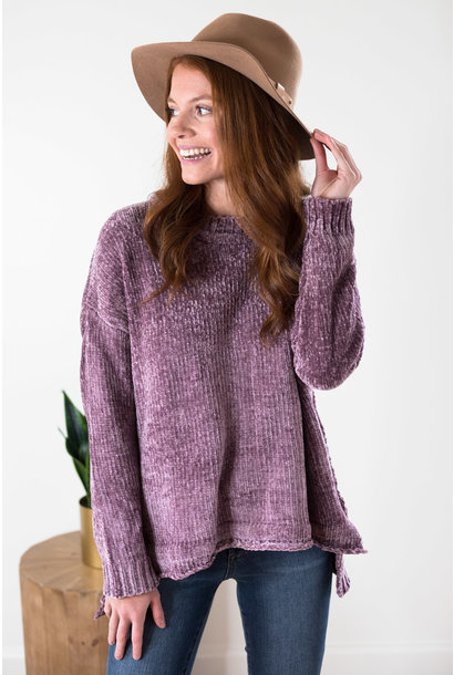 Kaley Mauve Chenille Knit Sweater Top