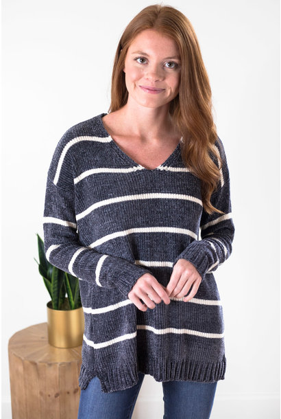 Aspen Grey Stripe Chenille V-Neck Sweater