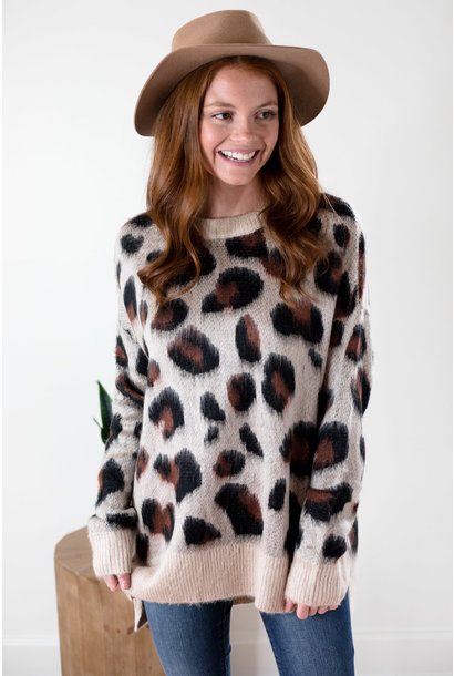 Cheyanne Beige Leopard Brushed Knit Sweater