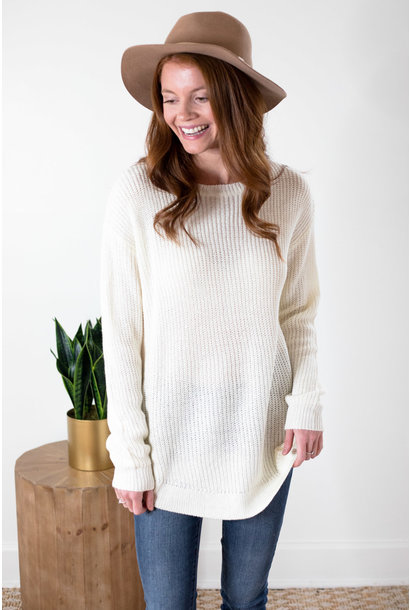 Laurel Ivory Crew Neck Pullover Sweater